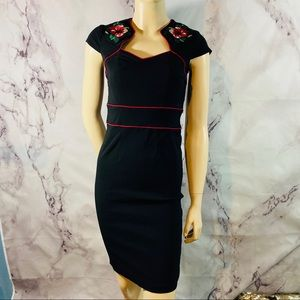 HELL BUNNY VIXEN embroidered pinut sheath dress m